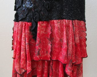 Red and black color skirt or tube dress with ruffled detailing and floral decoration plus made in U.S.A (v23)