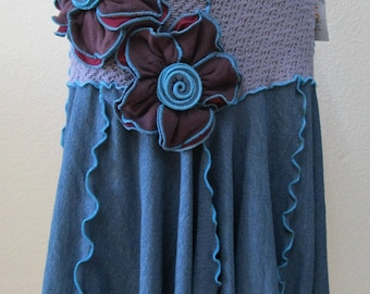 Blue and gray Color Skirt or tube dress with Roses Decoration just for your days plus made in USA  (v49)