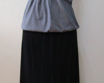 Black color long skirt OR tube dress for optional with ruffled edging plus made in USA  (v54)
