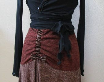 Brown skirt with gathered elastic decoration on the side plus made in USA (VN70)