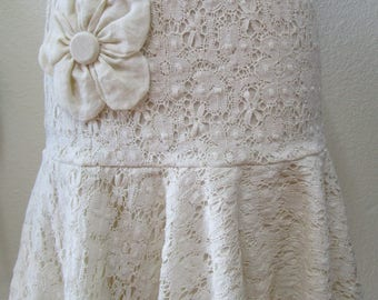 Lovely beige color crochet cotton skirt with rose decoration plus made in USA (VN 73)