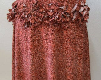 Dark Orange color skirt or tube dress with roses decoration around the front plus made in U.S.A product.(vn75)