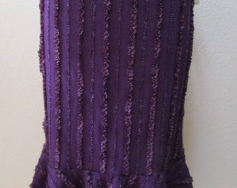 Purple color long length skirt or tube dress for optional to wear with ruffled  edges decorative plus made in USA  (v72)