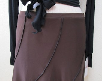 brown color long skirt or tube dress for your option to wear with ruffled edging plus made in USA (V155)