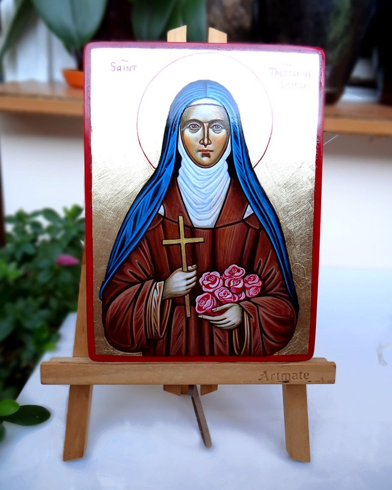 Therese of Roses St custom handpainted icon St Therese of Lisieux icon MADE to Order 8 by 6 inches