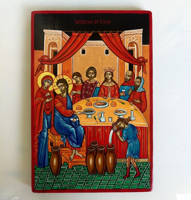 Hochzeit Zu Kana Jesus Bei Der Hochzeit Zu Kana Handbemalt Etsy