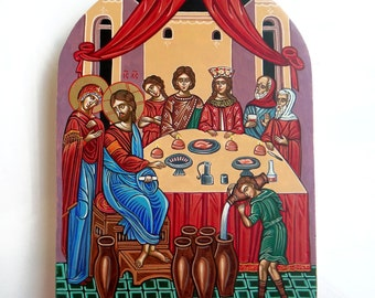 Wedding at Cana, Jesus at the Wedding Feast at Cana -  handpainted orthodox icon,MADE TO ORDER