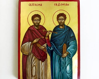 Saints Cosmas and Damian handpainted icon original, 8 by 6 inches