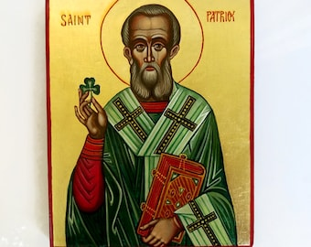Saint Patrick with shamrock, hand painted icon original, 10x8 inches MADE TO ORDER