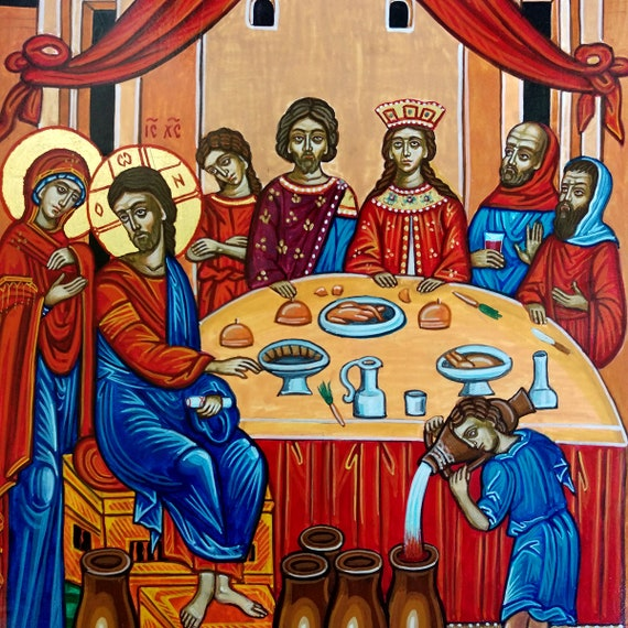 Wedding Feast At Cana.Wedding At Cana Jesus At The Wedding Feast At Cana Handpainted Orthodox Icon Ready To Ship