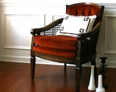 Vintage Lewittes Side Accent Chair. Rust. Velvet. Button Tufted. Caning. Traditional Living Family Room. Boudoir Seat. Autumn.