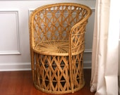 Vintage Rattan Chair. RESERVED. Fall Autumn Home Decor. Wicker. Geometric. Mid Century. Outdoor Alfresco Seating. Boho. Bohemian Chic.