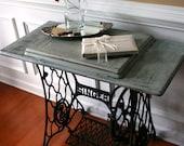 SALE. Sewing Machine Table. Cottage Chic Beach House. Grey Blue Entryway. School Desk. Singer Treadle. Farmhouse Rustic. Industrial.
