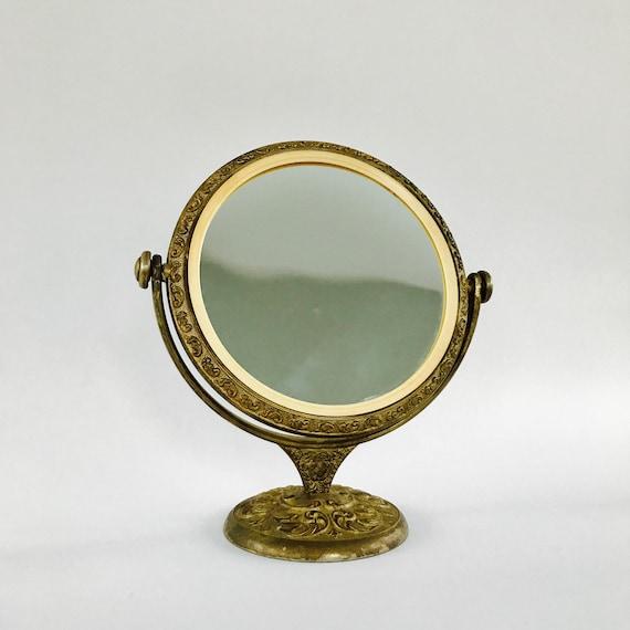 good Etsy Vanity Mirror Part - 3: Antique Vanity Mirror with Stand. Brass Makeup Mirror. | Etsy