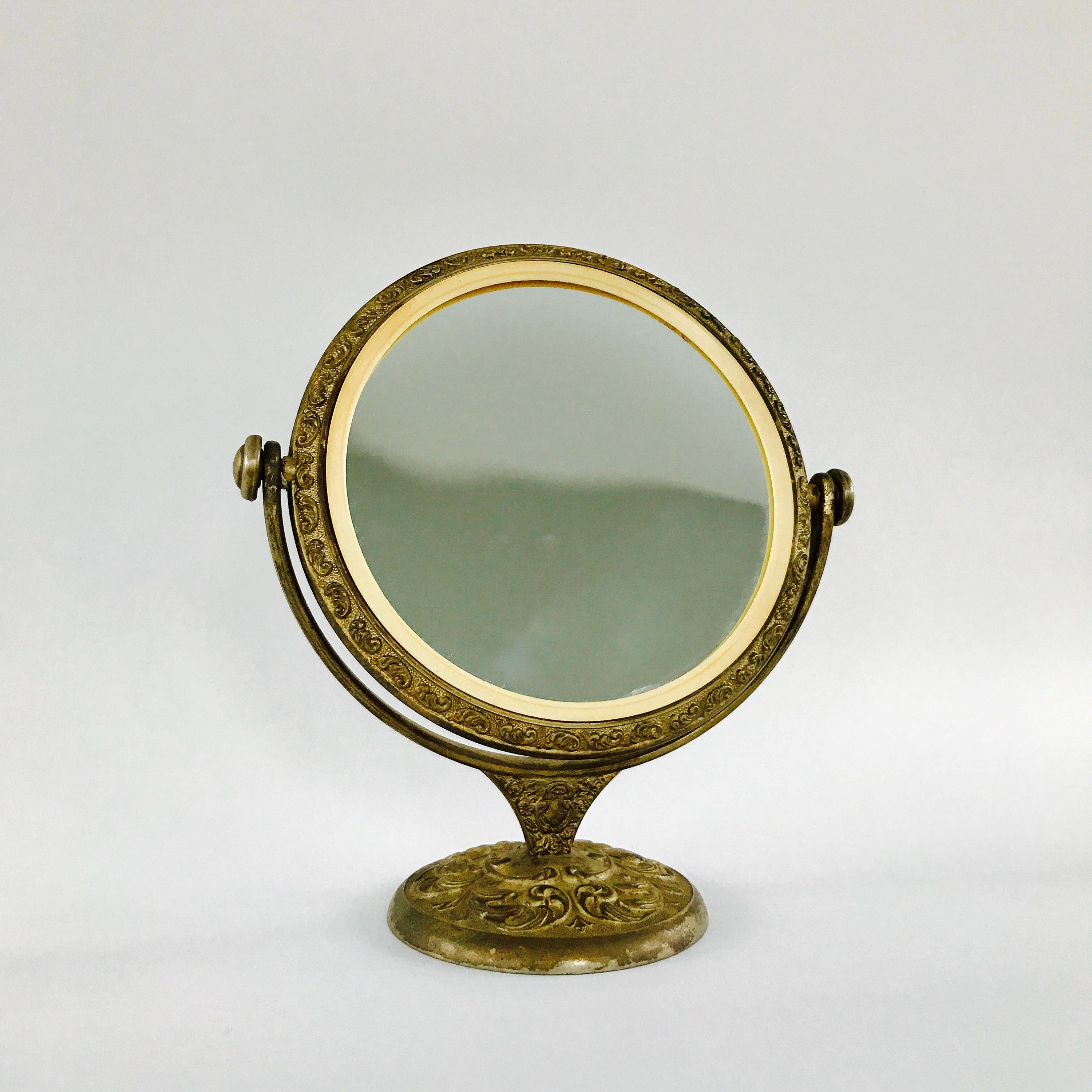Antique Vanity Mirror With Stand Brass Makeup Mirror Etsy