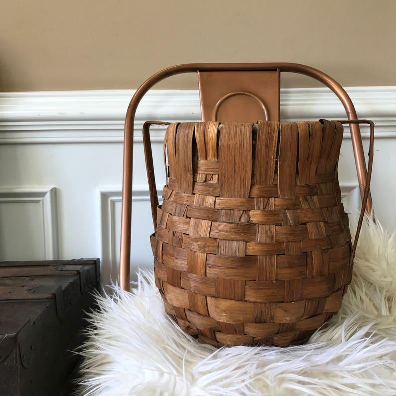Antique Basket with Handles. Vintage Tobacco Basket. Geometric image 0