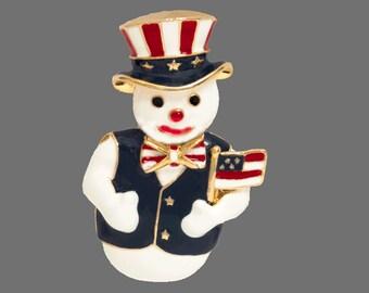 Vintage Patriotic Snowman Brooch Pin Red White Blue Enamel Gold Tone Metal