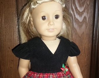 Holiday Dress and Shoes for American Girl Doll