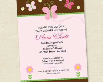 Custom Butterfly Baby Shower - Pink and Brown- Printable Digital Invitation - Personal Use Only