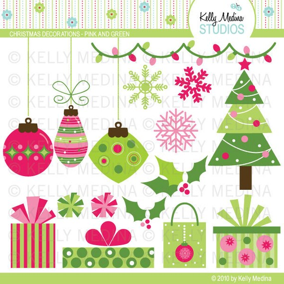 Christmas Decorations Pink and Green Clip Art Set Digital | Etsy