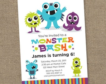 Custom Monster Bash - Printable Digital Invitation - Personal Use Only