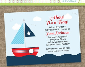 Nautical Sailboat Baby Shower - Printable Digital Invitation - Personal Use Only