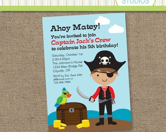 Custom Pirate Boy Birthday Invitation  - Printable Digital Invitation - Personal Use Only