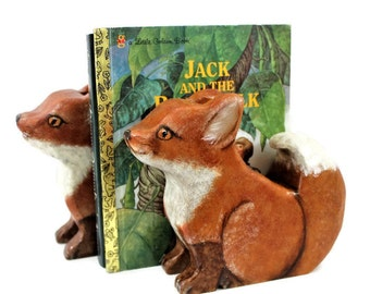 Fox Kit Bookends Hand Painted Non Toxic Nursery Decor Kids Room Decor Woodland Kids Room Waldorf Nature Inspired Child's Room Decor