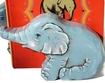 Baby Elephant Bookends Hand Painted Non Toxic Nursery Decor Waldorf Kids Room Decor Baby Animal Jungle Nursery Make Believe Child's Room