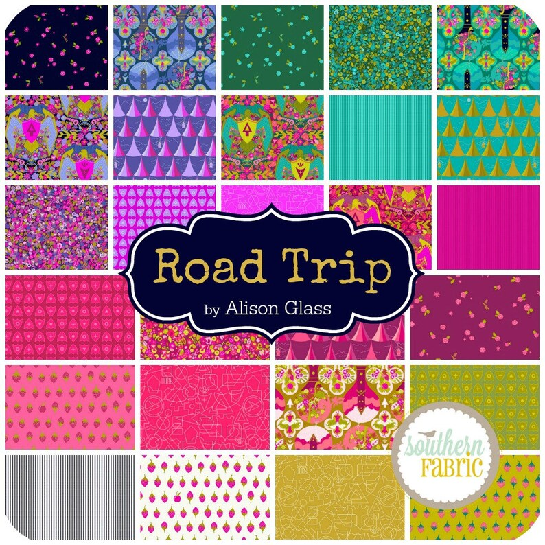 Road Trip Layer Cake by Alison Glass for Andover 42-10x10 Quilting Fabric Squares