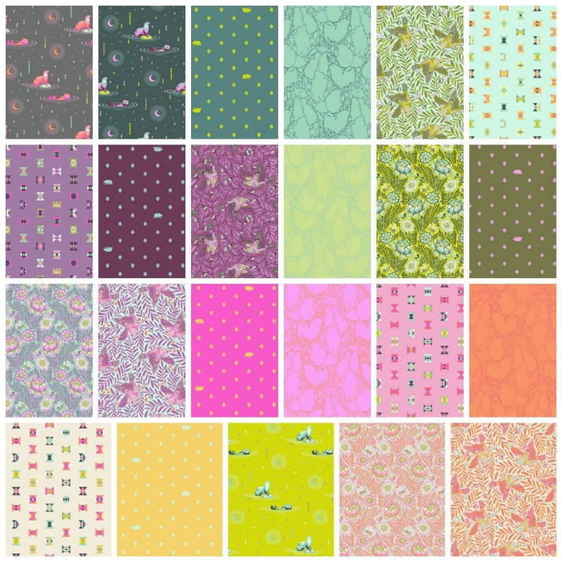 22-18x44 Cuts Spirit Animal Tula Pink Free Spirit Quilt Fabric Half Yard Bundle