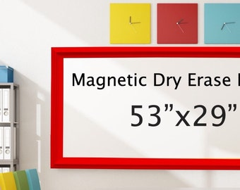 """Extra Large DRY ERASE BOARD For Sale Magnetic Home Office Decor Organization Board 53""""x29"""" Red Framed Dry Erase Board Whiteboard Dry Erase"""