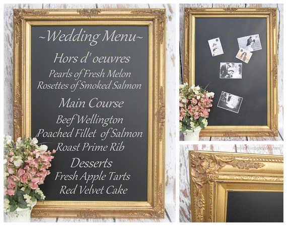 CHALKBOARD WEDDING Gold WEDDING Ideas Large Gold Chalkboard Decor 44\