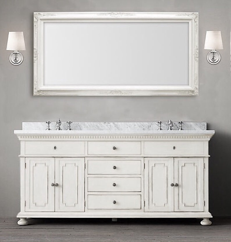 Many Sizes Available White Framed Bathroom Mirror Framed Baroque Vanity Mirror Wall Mirror 56 X32 Decorative Ornate Unique Mirror Rectangle