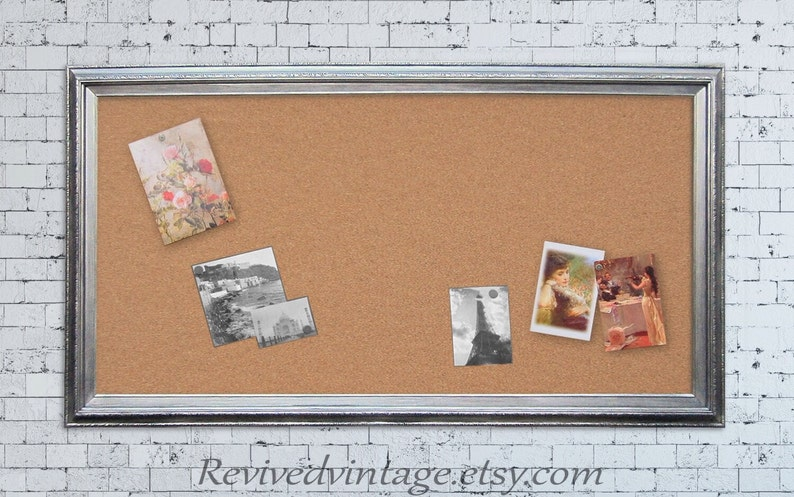 EXTRA LARGE CORKBOARD 53x29 Large Bulletin Board Modern Office Memo Board Silver Framed Brushed Nickel Kitchen Memo Board Cork board