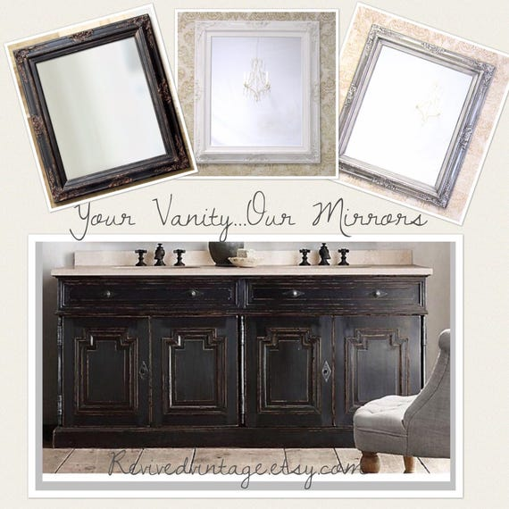 Bathroom Mirror Mirrors Brushed Nickel Accents Framed Baroque Etsy