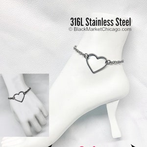 247 Wear Discreet Submissive Bracelet BLACK 316L Stainless Steel Dainty Petite Cable Chain and O-Ring