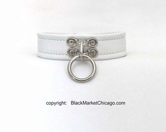 Bdsm Slave Collar White Genuine Leather Single Ring Lockable For Submissive Sissy Or Daddys Baby Girl Or Wedding Collaring Ceremony