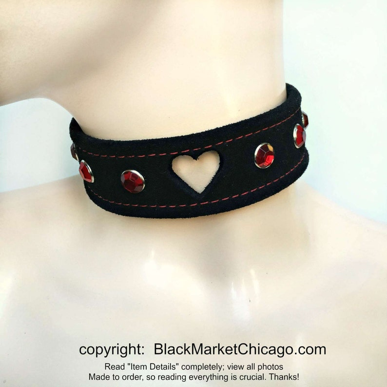 7c50ff7c88e04 BDSM Collar Black Suede HEART Cut Out with RUBY Rhinestones Lockable  Submissive Slave Kawaii Sissy Daddy's Girl or Baby Girl Choker