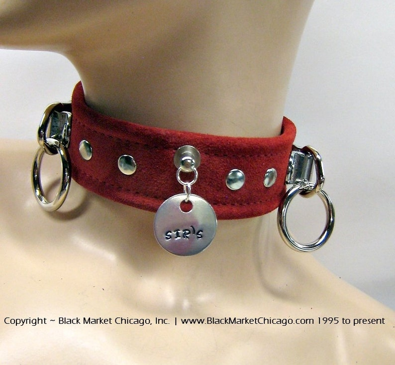 BDSM Collar with Engraved Slave TAG and 2 Rings STUDDED Lockable Genuine Seude Black Purple Blue or Baby Pink Red