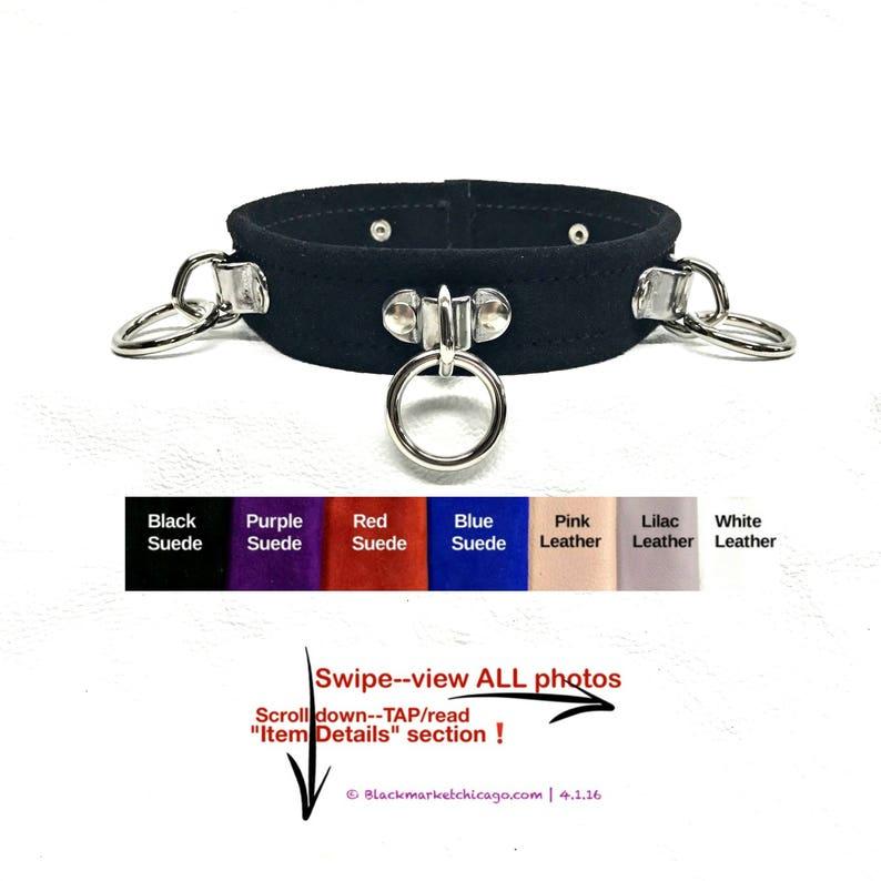 9e4d9e6213 BDSM Collar with 3 Bondage Slave Rings Genuine SUEDE BLACK