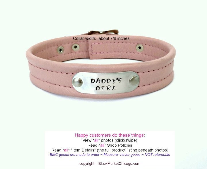 Bdsm Collar Baby Pink Leather Engraved Tag Daddys Girl  Etsy-6796