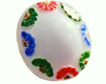 Handpainted Vintage Glass Button - Vintage German Dimensional Button - White Red Blue and Green - Collectible Button - B84 - 1 Button