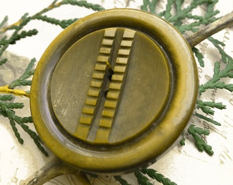 Vintage Celluloid Button Large Carved and Molded Button Art Deco Button Coat Button Sewing Button - B180