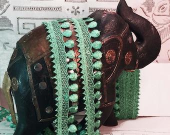 Lace Trim Embroidered Lace Trim Turquoise Embroidered Mesh Trim Retro Sewing Trim Mercerie Craft Trim  B177 - 1 yard