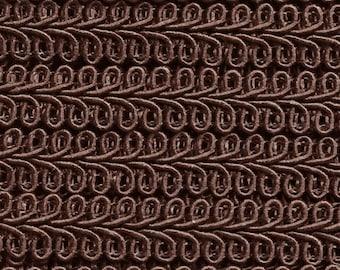 Brown Scroll Gimp - Chocolate Brown French Gimp - Conso Scroll Gimp Yardage  - Brown Flat Braid Trim - Brown Trim 7910 - 3 Yards