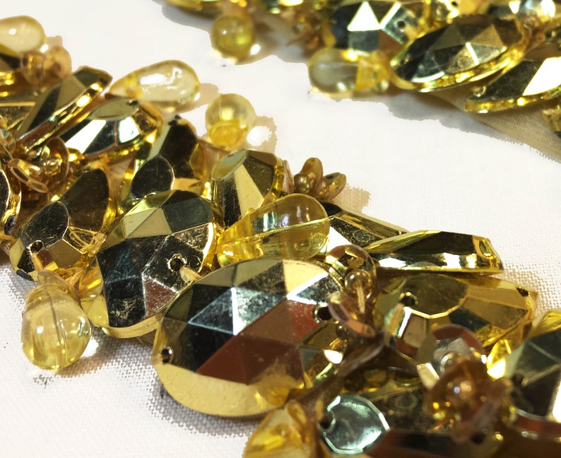 Beaded Jewel Trim with Faceted Gold Acrylic Jewels and Bead image 0