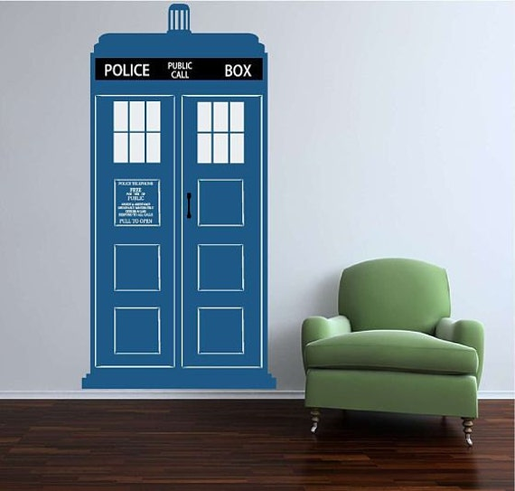 Large TARDIS Vinyl Wall Decal Free Shipping In The US   Etsy