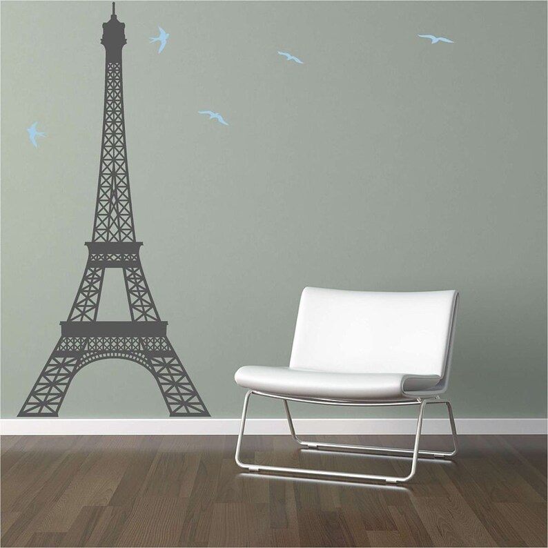 extra large eiffel tower vinyl wall decal   etsy