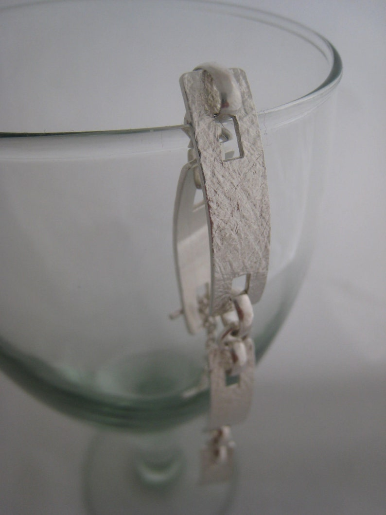Handmade Bracelet Sterling Silver Bracelet Silver Link Bracelet Chunky Silver Bracelet Modern Contemporary Textured Bracelet